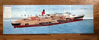 Queen Elizabeth 2 Full-Color Cutaway / Cunard / QE2