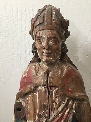 """18th C Antique Carved Wood Polychrome French Santos Figure   24"""" HIGH  10 LBS"""