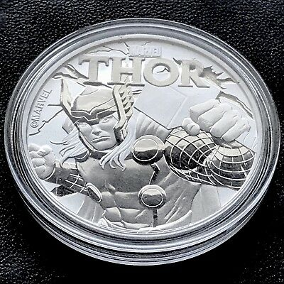 Marvel Comics Thor 1 oz .999 Silver Coin $1 2018 Tuvalu Hammer Super Hero Bag