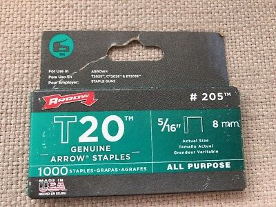 "Arrow Staples T20  5/16"" 8Mm  #205 1000 Count Box Made Is Usa"