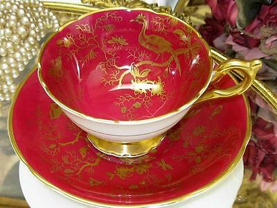 COALPORT CAIRO BIRDS RUBY RED GOLD Tea Cup & Saucer BUTTERFLY, INSECT, BUGS