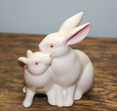 Fitz & Floyd Hand Painted Bunny Rabbit White Ceramic Candle Holder Candle 1980