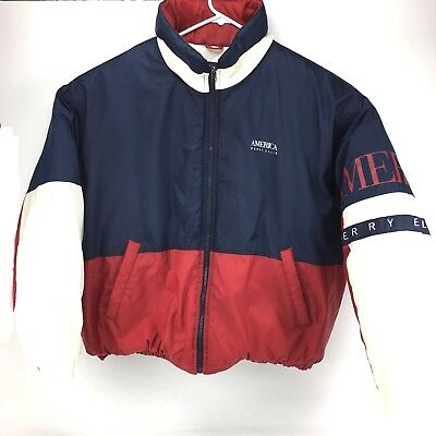 5875e11197 Vintage Perry Ellis America Puffer Jacket With Hood Size Large Red White  Blue