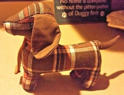 One Decorative Plaid Dachshund Doxie Sausage Dog - Dark Brown Fall Colors