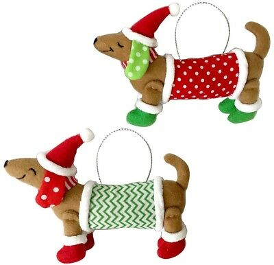 Set of 2 Movable & Posable Stuffed Dachshund Dog Holiday Christmas Ornaments