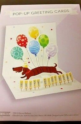 "3-D Pop-Up Greeting Card ""Happy Birthday"" Long Dog Dachshund With Balloons!"