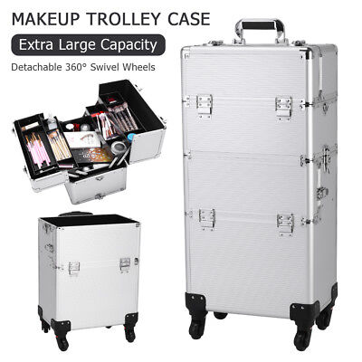 NEW Pro 3In1 Hard Rolling Makeup Case Salon Spa Organizer Aluminum Trolley Case
