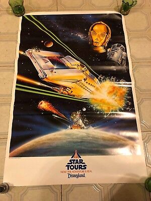 1987 Disney World Ride Star Tours Star Wars DROIDS R2D2 C3PO Poster