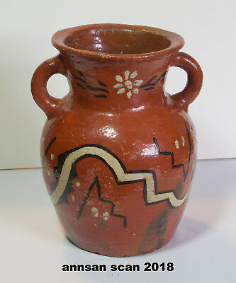 Vintage Redware two-handled jug /vase, hand thrown & painted