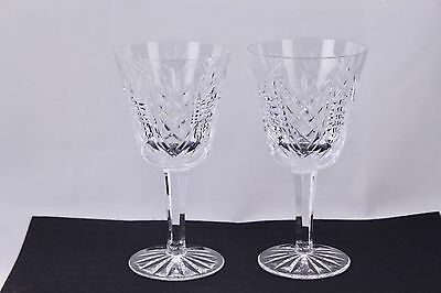 """Set Of 2 Waterford Crystal Clare 5-7/8"""" Claret Wine Glasses - Mint"""