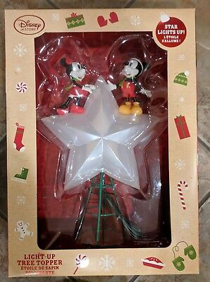 New 2016 Disney Store Mickey & Minnie Mouse Light Up Christmas Tree Topper