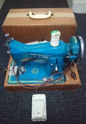 Vintage GENERAL PRECISION BUILT Sewing Machine w/ Carrying Case Japan SKY BLUE