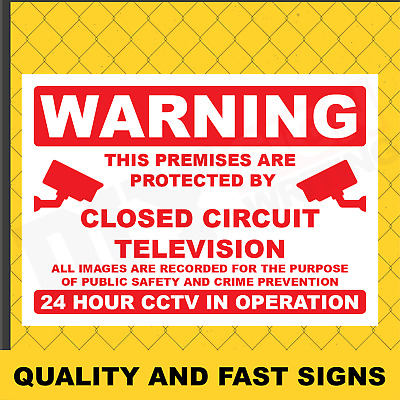 Warning CCTV In Operation Prints Full Colour Sign Printed Heavy Duty 3957