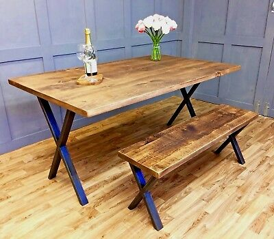 Industrial Dining Table Rustic Vintage Farmhouse Reclaimed Antique X Frame Table