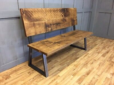 Industrial High Back Bench Rustic Farmhouse Vintage Reclaimed Bench A Frame