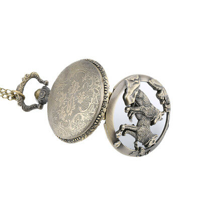 Men Quartz Pocket Watch Open-faced Cover Wild Wolf Transparent Pendant Gift