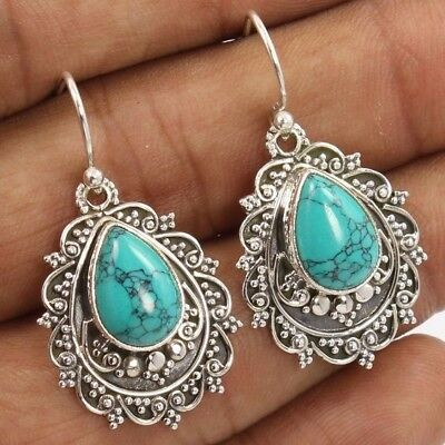 Elegant Jewelry Silver Plated Turquoise Wedding Engagement Drop Dangle Earrings