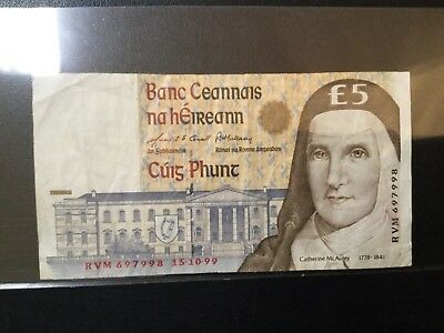1999 Ireland Paper Money - 5 Pounds Banknote
