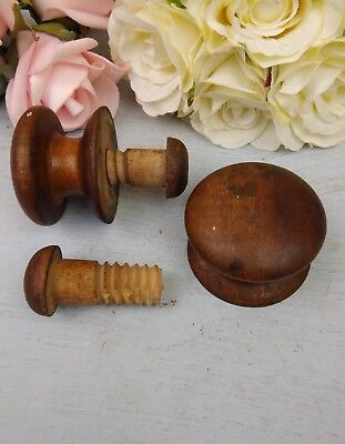 Pair Wooden Door Knob Cottage Kitchen Antique Solid Wood Reclaimed Old Original