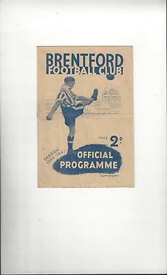 Brentford v Charlton Athletic Football Programme 1946/47