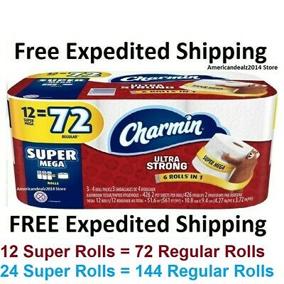 Charmin SUPER MEGA ULTRA STRONG Toilet Paper Roll Bath Tissue 6, 12 OR 24 ROLL