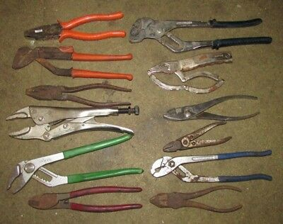 Job Lot of 12 x Good Quality Vintage Pliers Nips Snips Mole Grips Pipe Grips etc