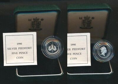 Great Britain: 1990 NEW Resized 5p Silver PIEDFORT Proof Cased with Certificate
