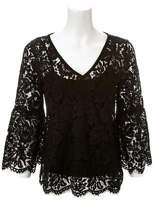 WHITE HOUSE BLACK MARKET Long Sleeve Allover Lace top