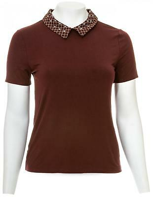 ANN TAYLOR FACTORY Embellished Collar Short-Sleeve Top