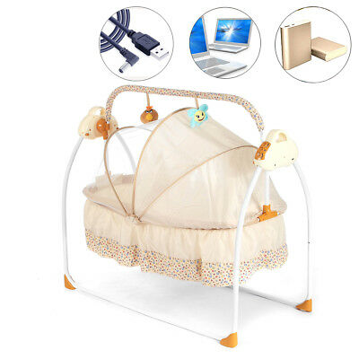 Electric Kid Baby Crib Cradle Infant Rocker Auto-Swing Sleep Curtain Bed Cots AU