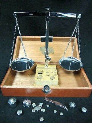 Antique Apothecary Adams Scale Balance w/ Weights In Wooden Box Japan 14304 #6