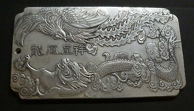 Chinese Phoenix And Dragon Mythical Beasts White Metal Ingot / Plaque