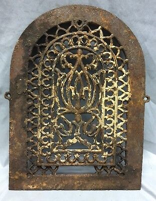 One Antique Arched Top Heat Grate Grill Gothic Decorative Arch 10X14 655-18C