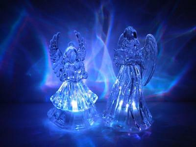 Acrylic LED Angels Color Changing Caroling Clear Lighted Xmas Decorations Set/2
