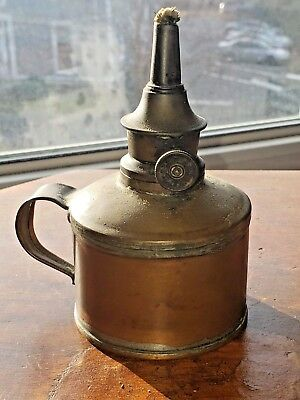 Antique Copper Handled Oil Lantern With Burner / Wick THE P & A MFG Co.