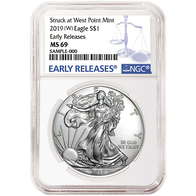 2019 (W) $1 American Silver Eagle NGC MS69 Blue ER Label