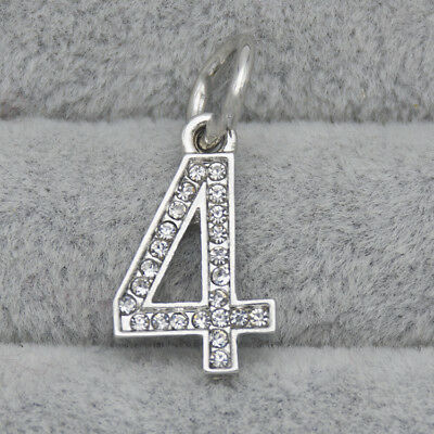 Silver CZ Crystal Number Four 4 Pendant Charm Bead Suit Bracelet Necklace DIY