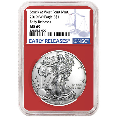 2019 (W) $1 American Silver Eagle NGC MS69 Blue ER Label Red Core