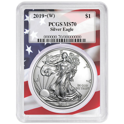 2019 (W) $1 American Silver Eagle PCGS MS70 Flag Frame