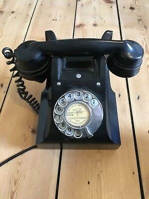 Original Vintage 1960's GPO Rotary Dial Black Telephone Fully Working Condition