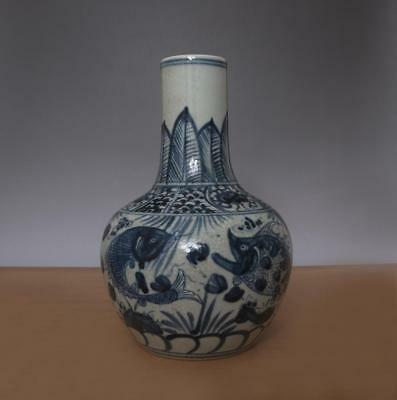 Antique Chinese Blue & White Porcelain Vase With Fish