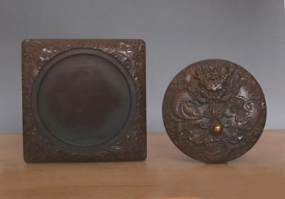 Old Chinese Boxwood Hand-carved Inkstone w/Dragon