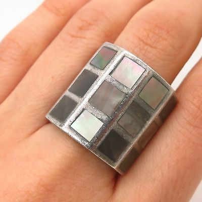925 Sterling Silver Antique Wide Mother-of-Pearl Grid Ring Size 7.5