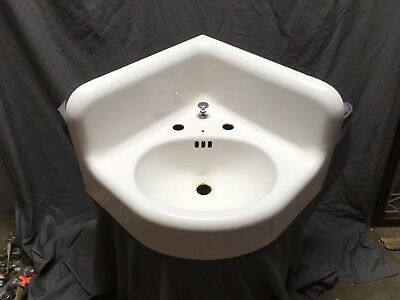 Large Antique Cast Iron White Porcelain Corner Sink Vtg Bath Kohler Old 636-18E