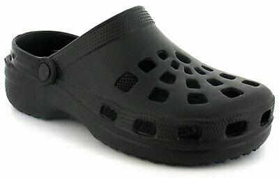 New Mens/Gents Black Slip On Mule Clog Style Sandals With Back Strap. UK Size