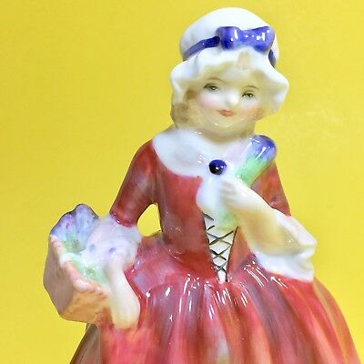 Royal Doulton England Lavinia Bone China Figurine Girl HN1955 Red Dress Basket