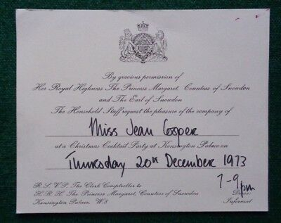 Princess Margaret Royal Household Christmas Cocktail Party Invitation 1973