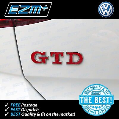 EZM VW Golf 7 MK7 MK7.5 GTD Front and Rear Badge Overlay Stickers Decals