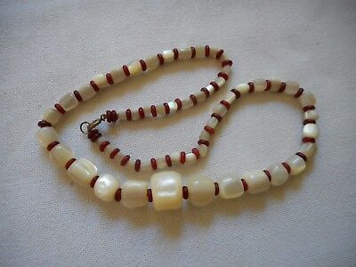 """Antique European  hand carved MOP and unknown red spacers necklace, 18"""""""