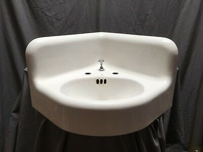 Large Antique Cast Iron White Porcelain Corner Sink Vtg Bath Kohler Old 638-18E